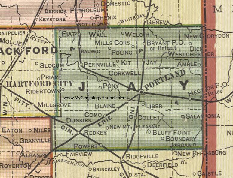 Jay County Indiana 1908 Map Portland