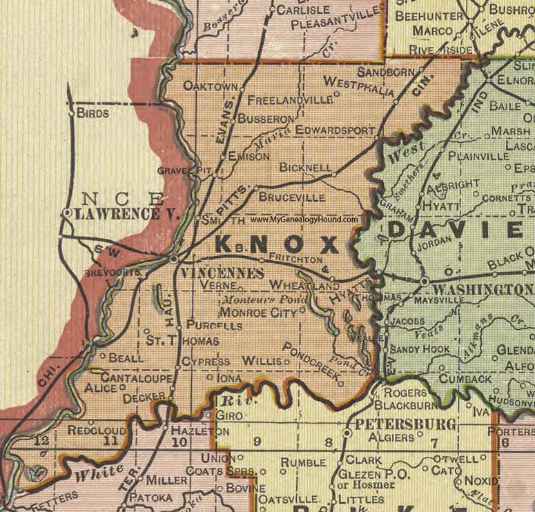 Knox County Indiana Map.Knox County Indiana 1908 Map Vincennes