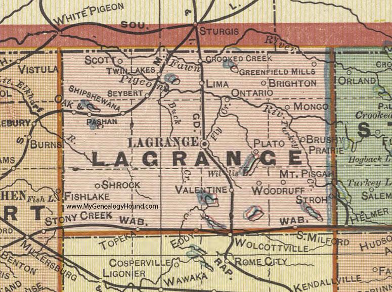 Lagrange County Indiana 1908 Map Topeka Shipshewana