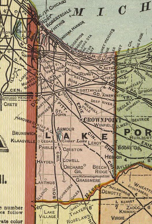 Lake County Indiana 1908 Map Crown Point