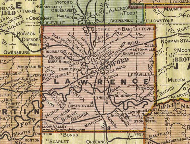 Lawrence County, Indiana, 1908 Map, Bedford