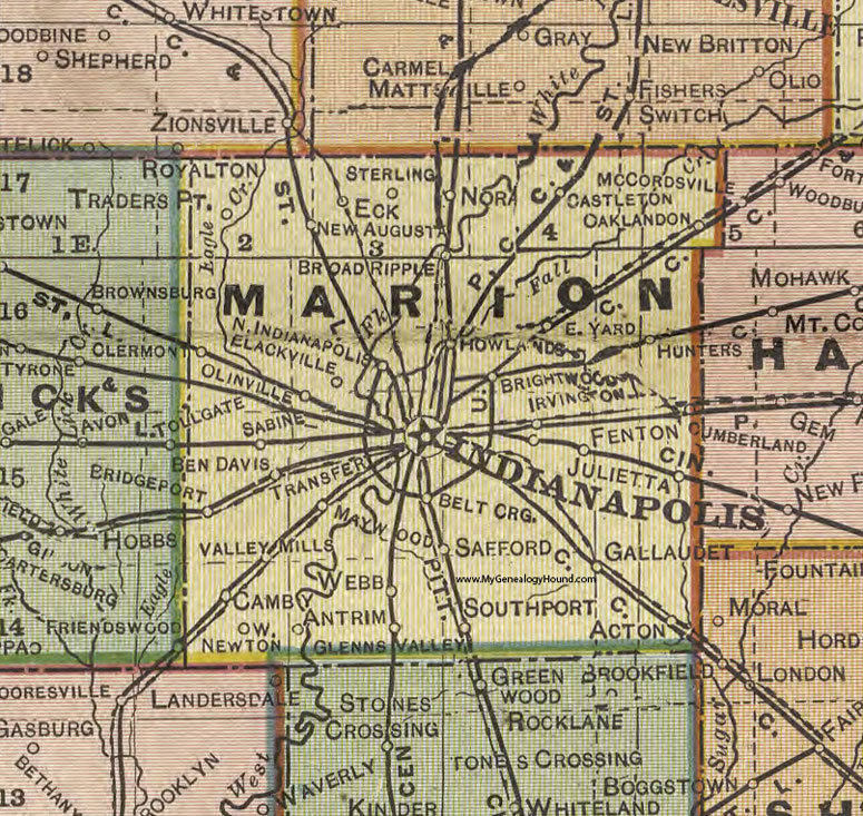Marion County, Indiana, 1908 Map, Indianapolis