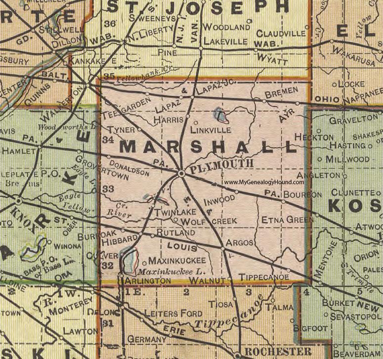Marshall County, Indiana, 1908 Map, Plymouth
