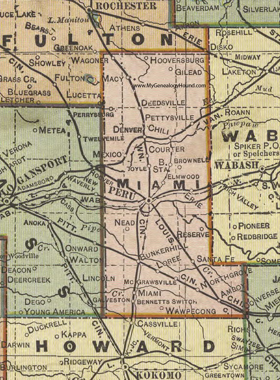 Miami County, Indiana, 1908 Map, Peru, Converse