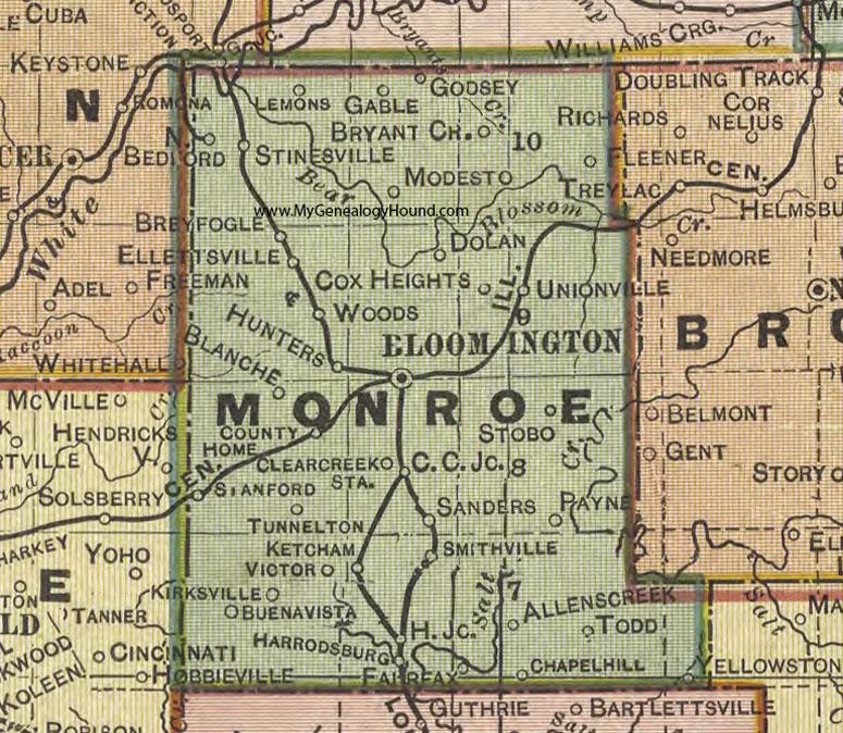 Indiana Map County.Monroe County Indiana 1908 Map Bloomington