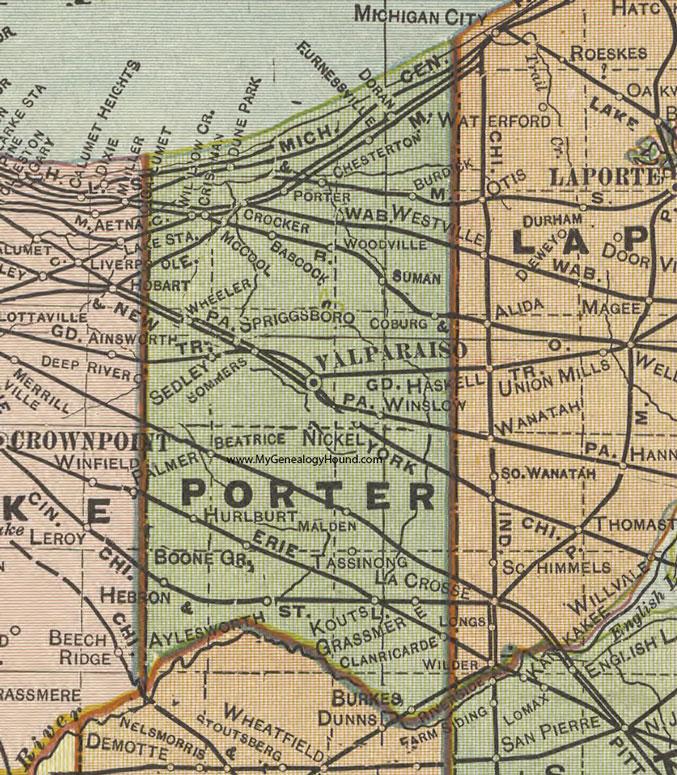 Porter County Indiana 1908 Map Valparaiso