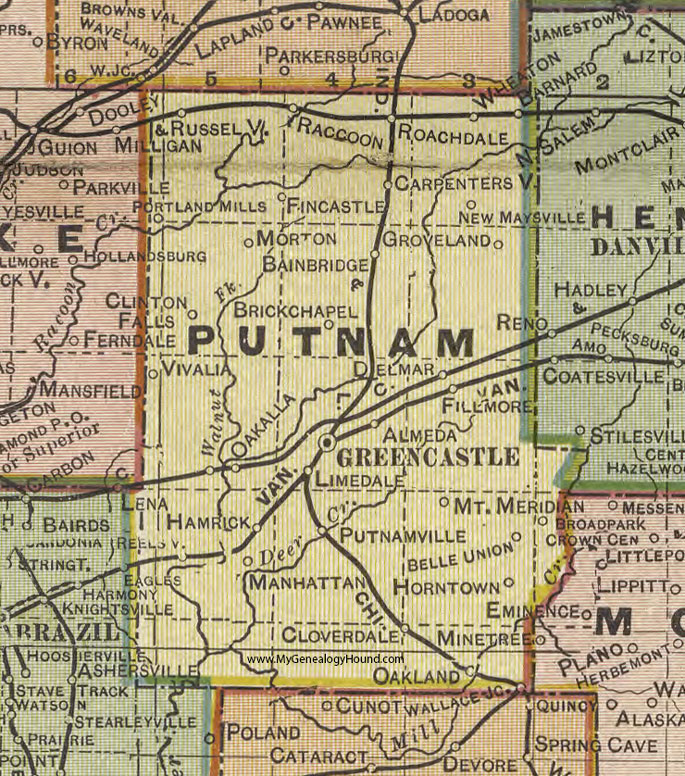 Putnam County, Indiana, 1908 Map, Greencastle
