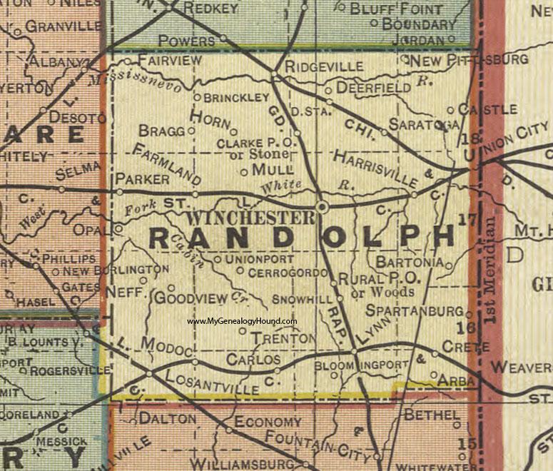 Randolph County, Indiana, 1908 Map, Winchester