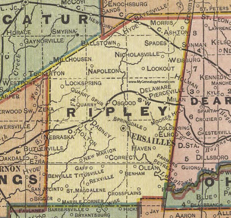 Milan Indiana Map.Ripley County Indiana 1908 Map Versailles