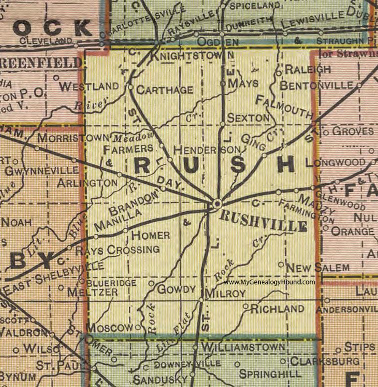 Rush County Indiana 1908 Map Rushville