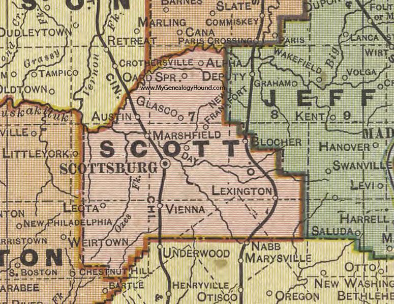 Scott County Indiana 1908 Map Scottsburg