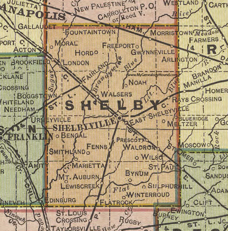 Shelby County, Indiana, 1908 Map, Shelbyville