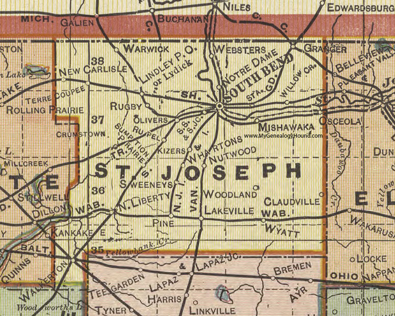 St. Joseph County, Indiana, 1908 Map, South Bend