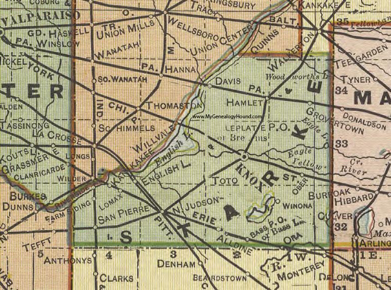 Knox County Indiana Map.Starke County Indiana 1908 Map Knox