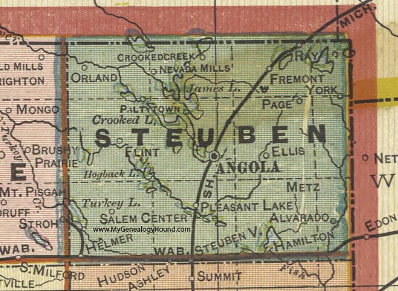 Steuben County Indiana 1908 Map Angola