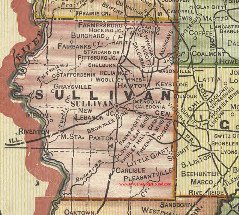 Sullivan Cave Indiana Map.Sullivan County Indiana 1908 Map Shelburn Farmersburg