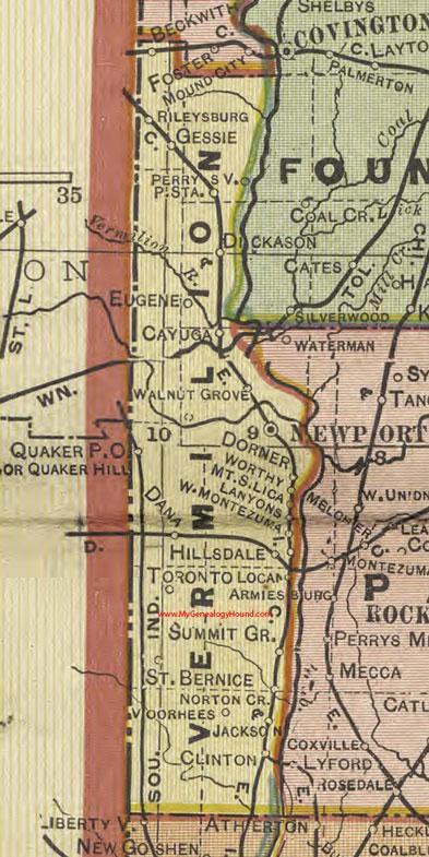 Vermillion County Indiana 1908 Map Newport
