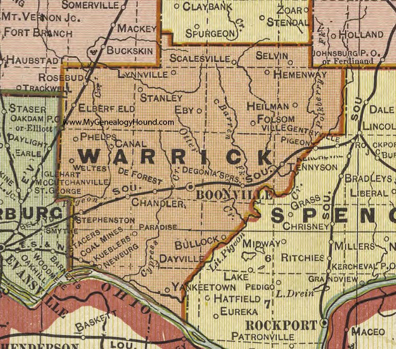 Warrick County, Indiana, 1908 Map, Newburgh, Boonville