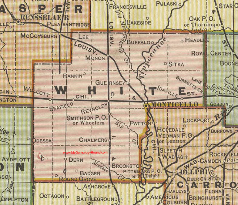 White County, Indiana, 1908 Map, Monticello