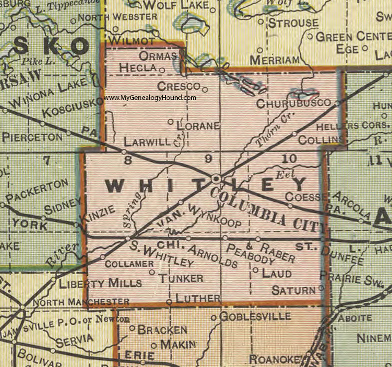 North Manchester Indiana Map.Whitley County Indiana 1908 Map Columbia City