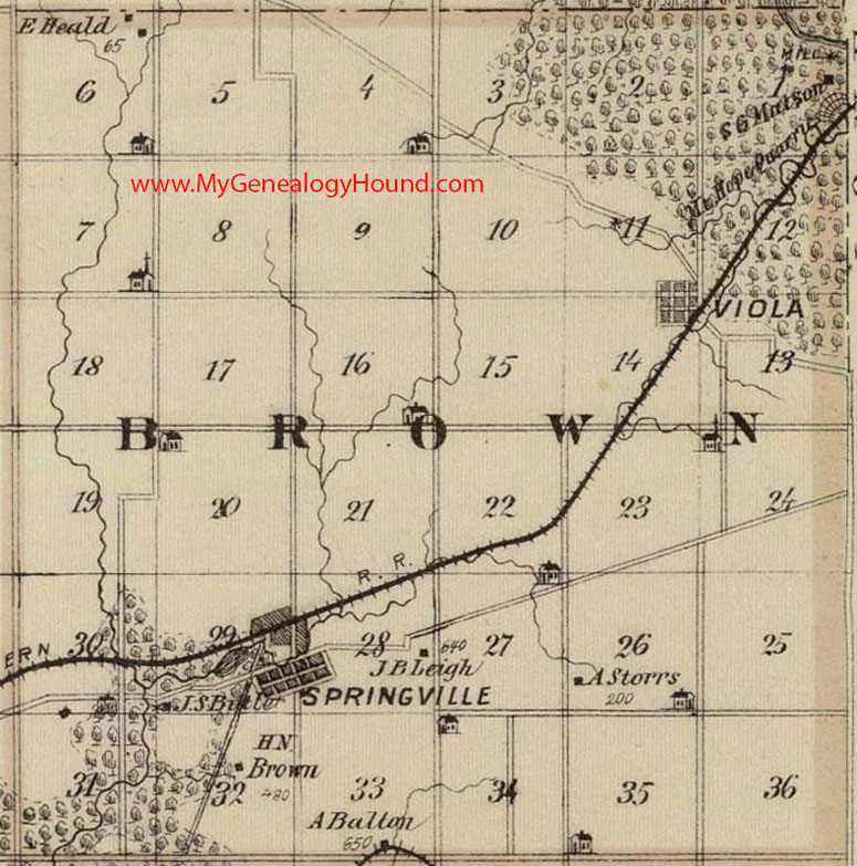 Brown Township Linn County Iowa 1875 Map