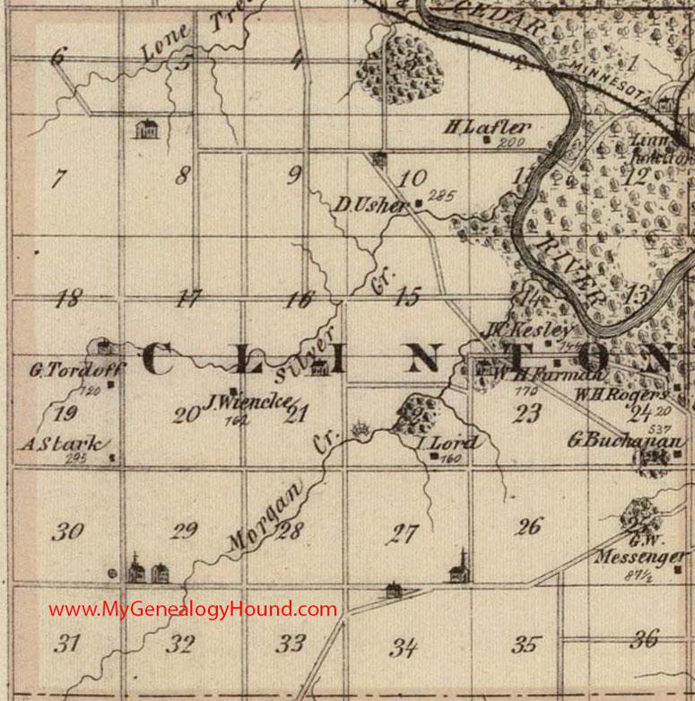 Clinton Township Linn County Iowa 1875 Map