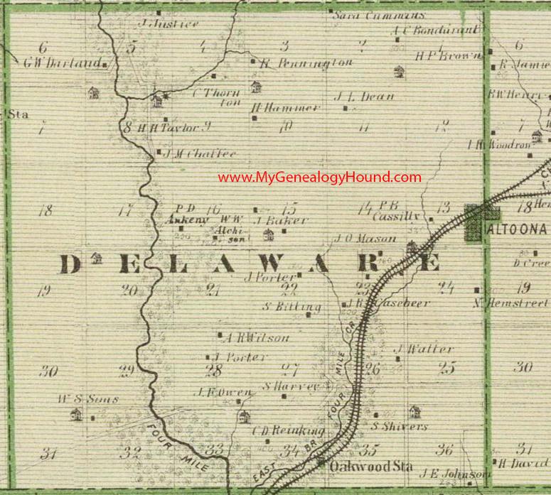 Delaware Township Polk County Iowa 1875 Map