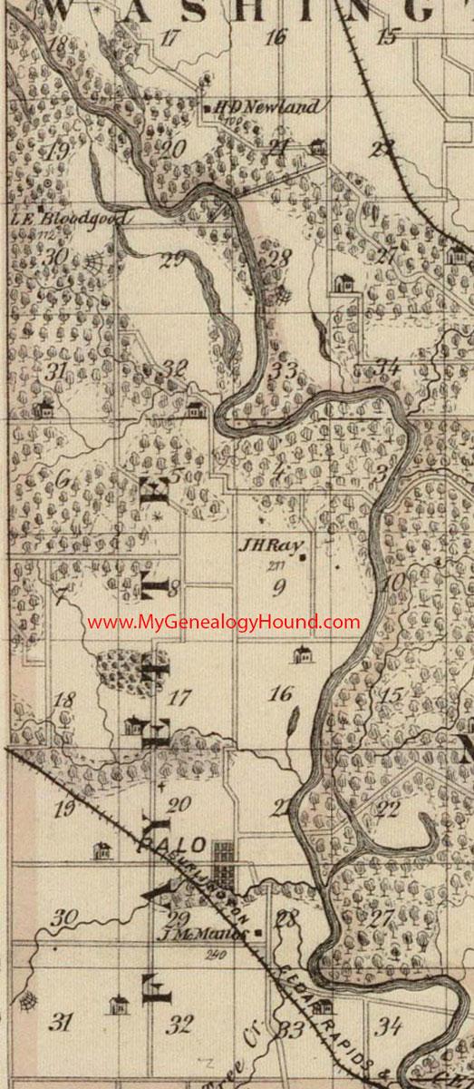 Fayette Iowa Map.Fayette Township Linn County Iowa 1875 Map