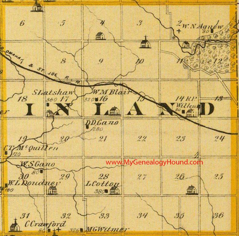 Inland Township, Cedar County, Iowa 1875 Mapinland township