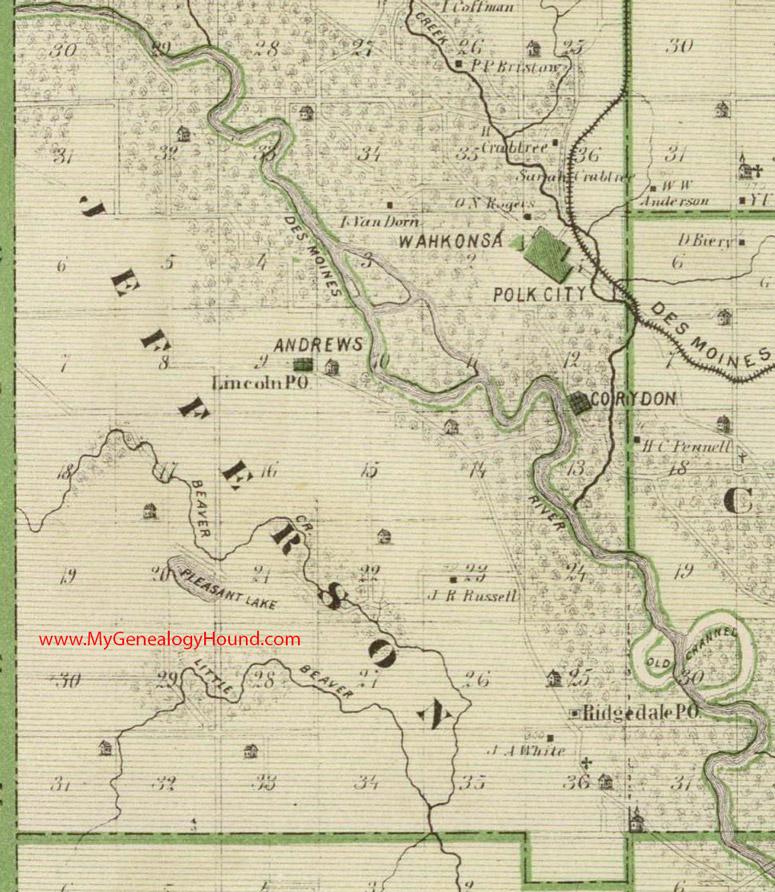 Jefferson County Iowa Map.Jefferson Township Polk County Iowa 1875 Map