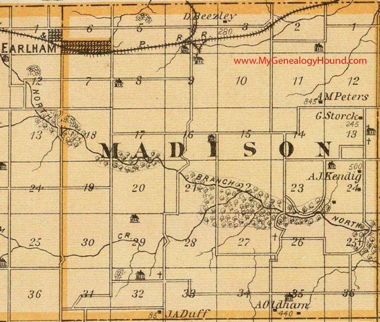 map of madison county iowa Madison Township Madison County Iowa 1875 Map map of madison county iowa