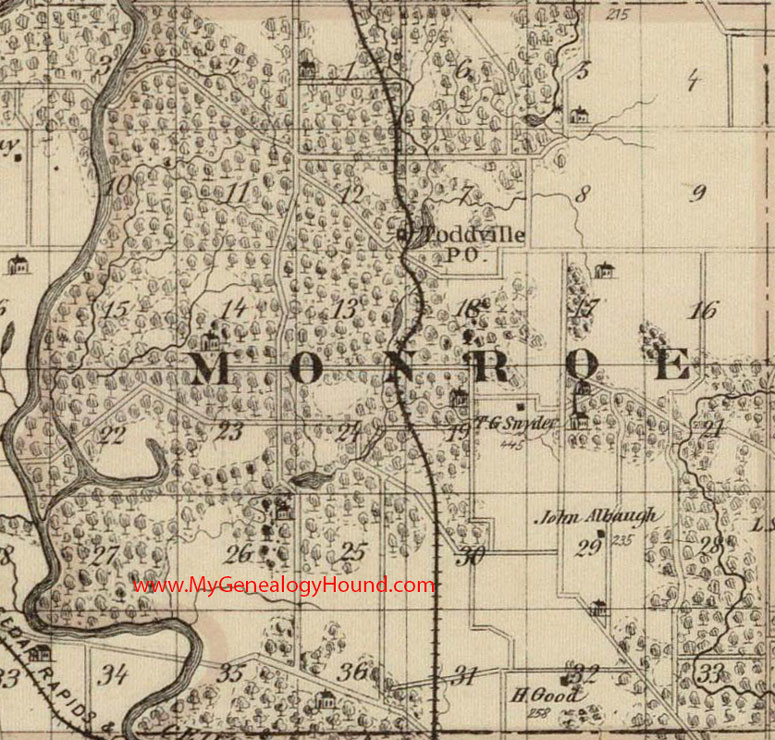 Monroe Township Linn County Iowa 1875 Map