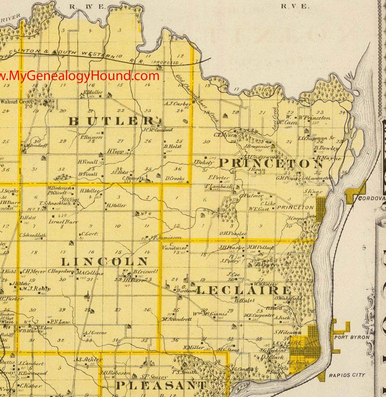 northeast scott county iowa 1875 map