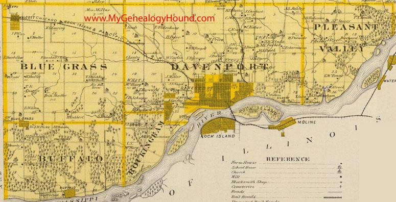 south scott county iowa 1875 map