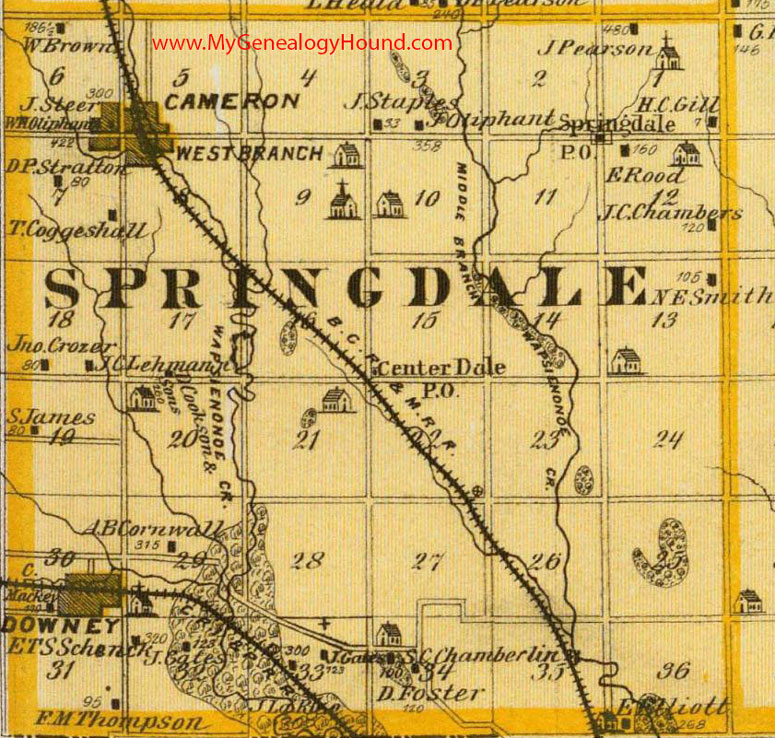West Branch Iowa Map.Springdale Township Cedar County Iowa 1875 Map