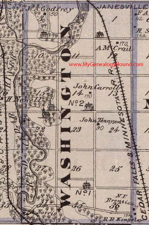 Washington County Iowa Map.Washington Township Black Hawk County Iowa 1875 Map