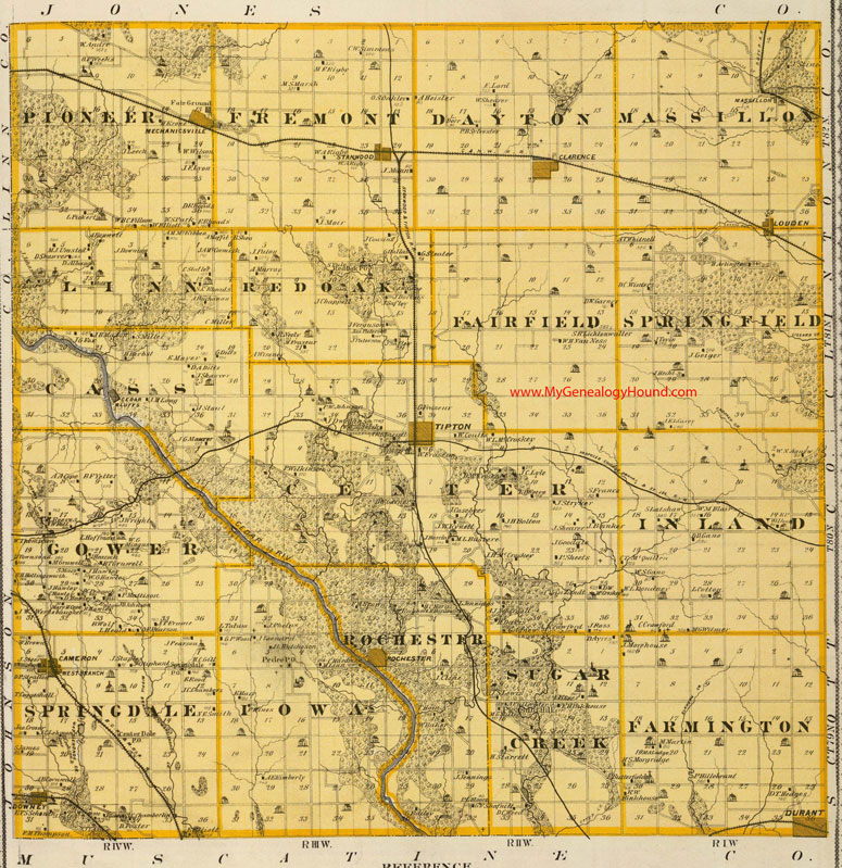 West Branch Iowa Map.Cedar County Iowa 1875 Map