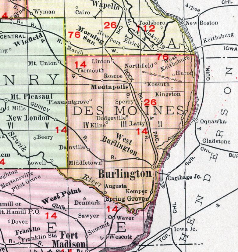 Des Moines County, Iowa, 1911, Map, Burlington, Mediapolis ...