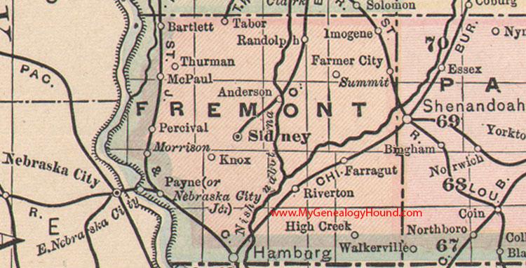 Fremont County Iowa 1905 Map