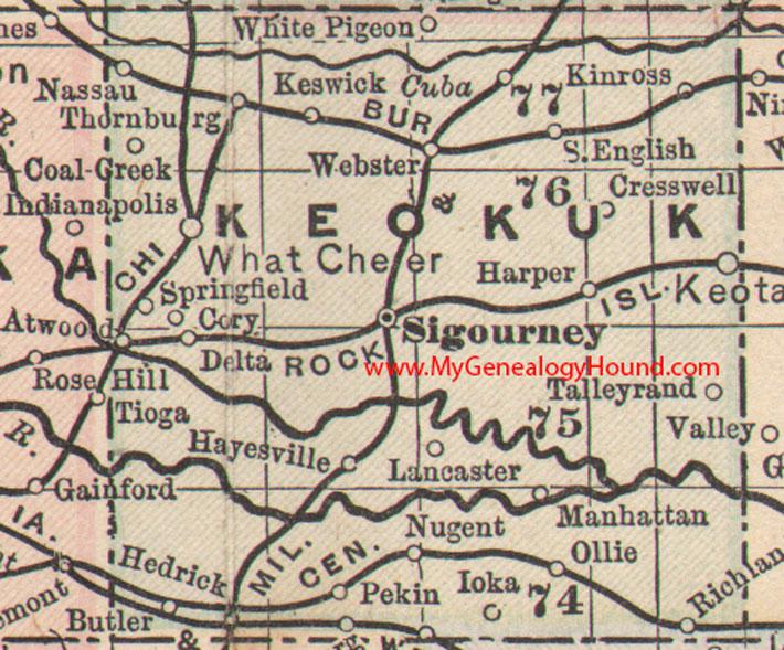 Keokuk County Iowa 1905 Map