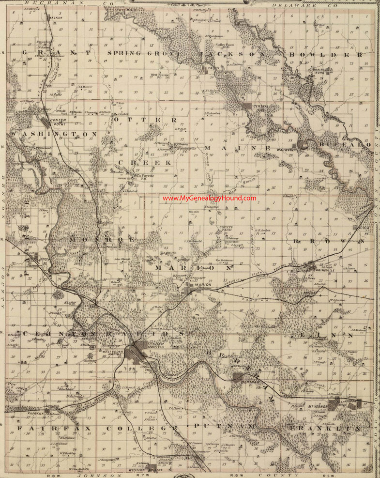 Linn County Iowa 1875 Map