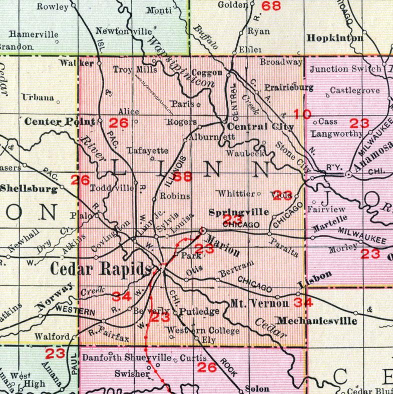 mount vernon iowa map Linn County Iowa 1911 Map Cedar Rapids Marion Mt Vernon mount vernon iowa map