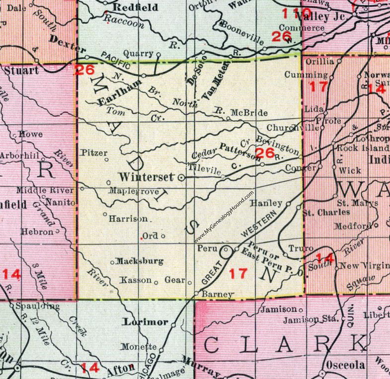 map of madison county iowa Madison County Iowa 1911 Map Winterset Earlham St Charles map of madison county iowa