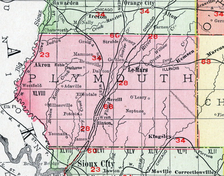 Plymouth County, Iowa, 1911, Map, Le Mars, Remsen, Akron ... on map of mass by county, map of ok by county, map of oh by county, map of ny state by county, map of new york by county, map of iowa state, map of iowa town, map of iowa resources,