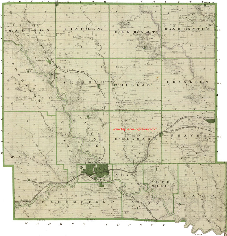 Polk County Iowa Map - Cities in iowa map