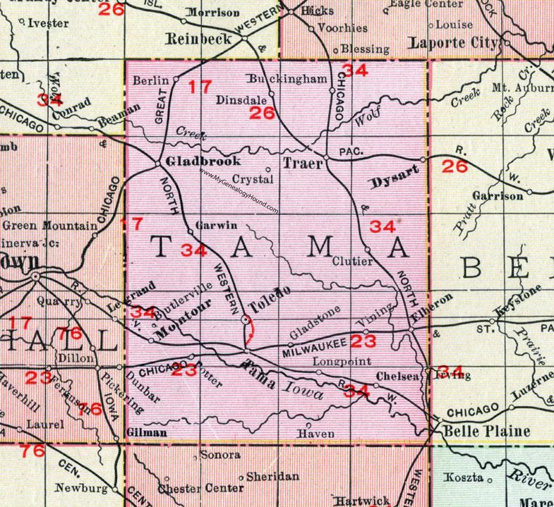 tama county iowa map Tama County Iowa 1911 Map Toledo Tama City Traer Dysart