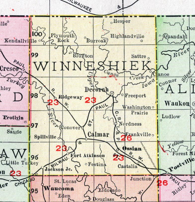 map of decorah iowa Winneshiek County Iowa 1911 Map Decorah Calmar Ft Atkinson map of decorah iowa
