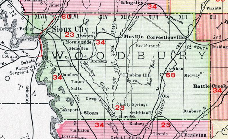 Woodbury County, Iowa, 1911, Map, Sioux City, Sergeant Bluff ... on map of mass by county, map of ok by county, map of oh by county, map of ny state by county, map of new york by county, map of iowa state, map of iowa town, map of iowa resources,