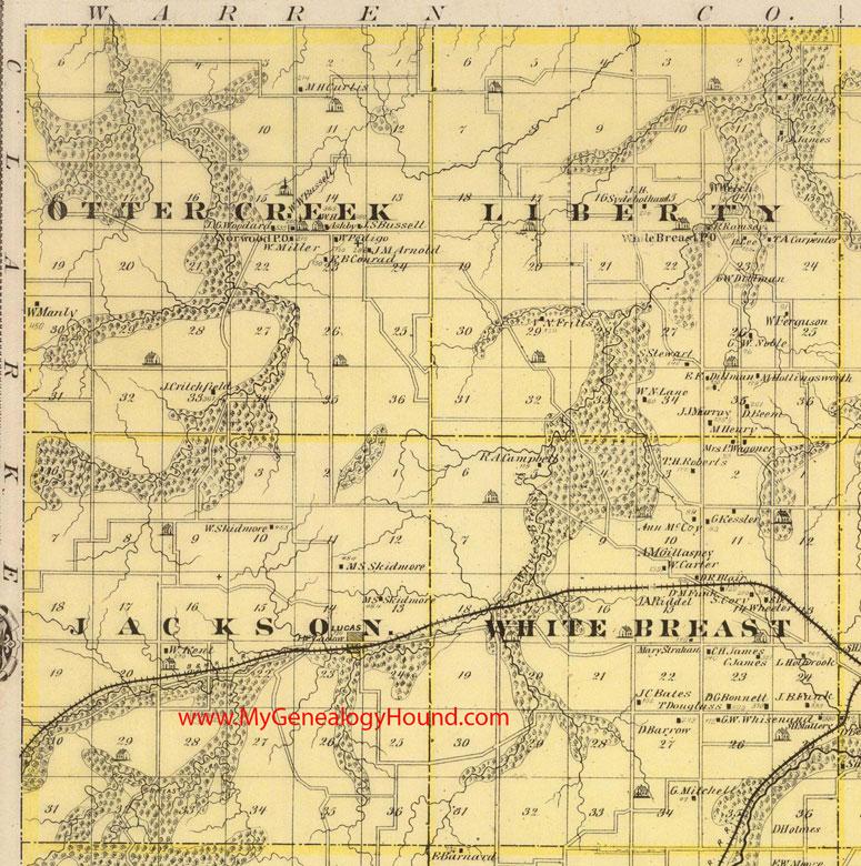 Jackson County Iowa Map.Northwest Lucas County Iowa 1875 Map