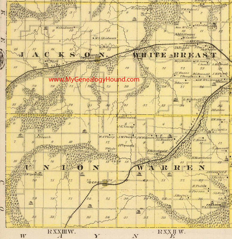 Warren County Iowa Map.Southwest Lucas County Iowa 1875 Map